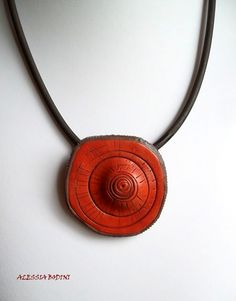 Polymer clay - Terracotta . pendant