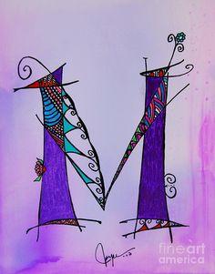 m Monogram Painting  - m Monogram Fine Art Print
