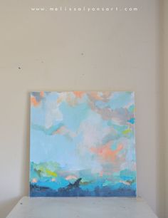 24 x 24 x 1 1/2    gallery wrap/style premium canvas    your painting will arrive wired and ready to hang right out of the box! it has been given a