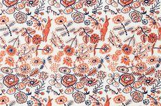 Embroidery on fabric. Minä Perhonen.