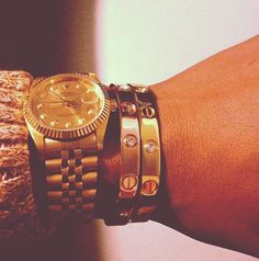 Rolex and Cartier. #gold #watches #bracelets #accessories