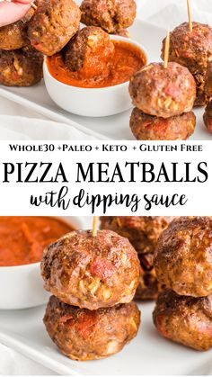 These pizza inspired meatballs are filled with pepperonis, pizza sauce and onions. Keto, Clean Eating, and Paleo. These meatballs are perfect for meal prep, family dinner or a social gathering. Eating Meals The Best Pizza Meatballs - Healthy Little Peach Paleo Whole 30, Whole 30 Recipes, Whole 30 Meals, Whole 30 Lunch, Whole30 Pizza, Paleo Recipes, Cooking Recipes, Paleo Food, Paleo Meals