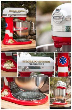 Custom Painted Firehouse, fireman, firetruck themed KitchenAid mixer by Nicole Dinardo of Un Amore INC.#CHEFSCatalog