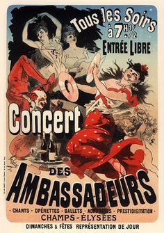 Paris, France - Concert Poster on Avenue de Champs-Elysees Vintage Advertisements, Vintage Ads, French Vintage, Vintage Posters, French Posters, Vintage Sheets, Inktober, Jules Cheret, Nostalgic Images