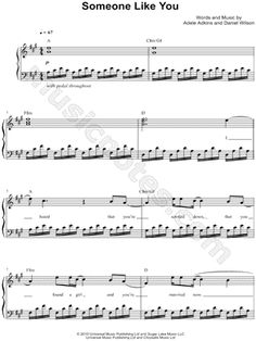 I found digital sheet music (easy piano) for Someone Like You by Adele from 2010 at Musicnotes.