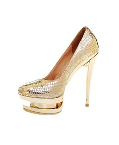 Gold Embossed Snakeskin Round Toe Platform High Shoes
