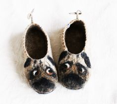 PUG Felted Wool Slippers Handmade slippers from Norwegian sheep wool with soles Pugs slippers Beige Pug Art Dog lover gift Pug gift Felted Slippers, Handmade Felt, Sheep Wool, Wool Felt, Fiber Art, Pugs, Cleaning, Beige, Pug