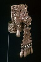 MEXICO: MIXTEC EARRING.   Mixtec earring made with a lost-wax casting method. From Mexico, 10th-16th century.