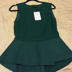 ZARA women's peplum top green embroidered  top ZARA women's peplum top green embroidered  top Zara Tops