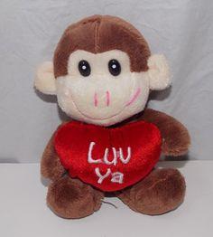 "Dan Dee 6.5"" Brown Monkey Gorilla Plush Stuffed Animal Luv Ya Heart Valentine #DanDee"