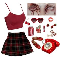 A fashion look from March 2018 featuring cropped shirts, pleated skirt and flat shoes. Browse and shop related looks. Stage Outfits, Cool Outfits, Casual Outfits, Aesthetic Fashion, Aesthetic Clothes, Teen Fashion, Fashion Outfits, Looks Vintage, Grunge Outfits