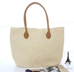 Beige straw woven beach tote bag