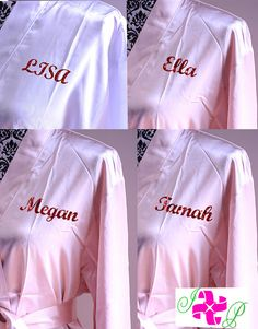 aca9eef23e Set of 6 Monogram Robes Personalized Bride Robe Bridesmaid robes Silk  wedding robes Bridal Party gift Satin Robes 22 colors to choose from.