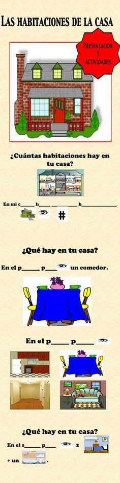 Spanish Rooms in the House-Habitaciones Presentation and Activities Spanish Teacher, Spanish Classroom, Teaching Spanish, Middle School Spanish, Elementary Spanish, Spanish Lesson Plans, Spanish Lessons, Spanish 1, Spanish House