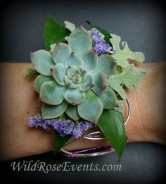 A fun Succulent corsage with lavender accents on a custom wire wristlet…