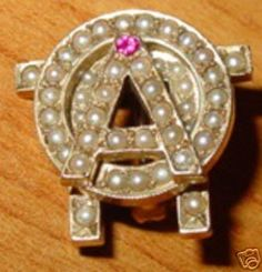 All pearl AOII Badge