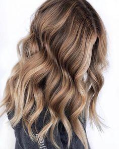 Light Blonde and Chocolate Brown Balayage - Modern Blonde Hair With Highlights, Brown Blonde Hair, Light Brown Hair, Light Hair, Caramel Highlights, Dark Brown, Light Blonde, Dark Hair, Light Brunette