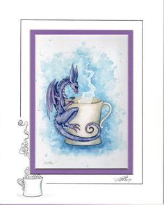 Coffee Dragon 5x7 matted 8x10 by Amy Brown van AmyBrownArt op Etsy