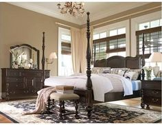 """king size four poster bed - The Paula Deen Savannah Poster Bed is reminiscent of the bye-gone era of Southern Plantations. The twist turned finials. Constructed of select solids and pin-knotty cherry veneers this bed will lend an air of aristocracy to your bedroom. 932270B Savannah Poster California King Bed W 82"""" x D 96"""" x H 86"""" 301 lbs Calculate White Glove Delivery Cost by Weight« less  Other options  $1,925.00 Free shipping. No tax LuxeDecor"""