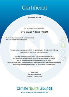 Co2 reductie - klimaat certificaat!