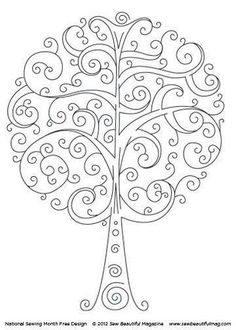 Swirly Tree quilling and embroidery Cross Stitch Embroidery, Embroidery Patterns, Hand Embroidery, Machine Embroidery, Embroidery Tattoo, Colouring Pages, Coloring Books, Quilled Creations, Quilling Designs
