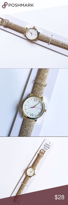 Sparkly Glitter Watch NWT Fabulous sparkly watch with a gold and rainbow glitter strap! Battery included, NWT! 10% of proceeds go to a local nonprofit organization! My current charity focus is the One Orlando fund. Accessories Watches