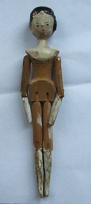 """Antique 9"""" Wood Wooden Jointed Painted Doll"""
