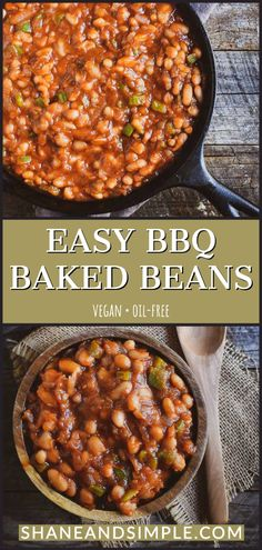 Easy Bbq Baked Beans Recipe, Healthy Baked Beans, Vegetarian Baked Beans, Baked Bean Recipes, Easy Bean Recipes, Beans Recipes, Vegetarian Food, Vegan Food