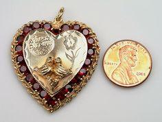Love this Love Birds and HEART Charm 15.6 grams 14kt yg by vintagebitsblitz, ETSY