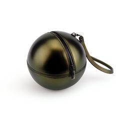 """Rock'n'Ball"" sphere handbag, gold plated with PVC handle"