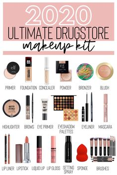 Updated Ultimate Drugstore Makeup Kit - Creativity Jar Looking for affordable makeup products that offer amazing quality? Check out this updated ultimate drugstore makeup kit for budget-friendly products to add to your routine. Best Drugstore Makeup, Drugstore Makeup Dupes, Best Makeup Products, Eyeshadow Dupes, Makeup Products For Beginners, Mac Makeup, Beauty Products Must Have, Make Up Dupes Drugstore, Make Up Products