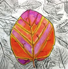 1-fall leaf rubbing watercolor with salt