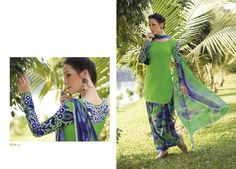 Printed Georgette Patiala Salwar Kameez Material with chiffon dupatta. Available in 2 colors.  Color May vary, Dry Clean Only.
