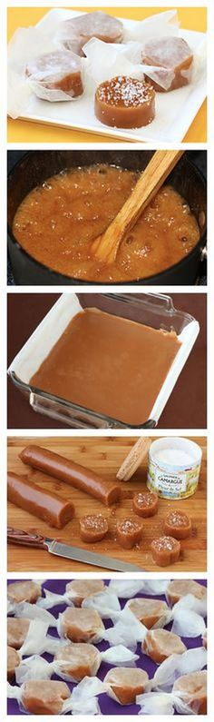 Fleur de Sel Caramels - Grab your candy thermometer (or run out and buy one) and give these babies a try! Better than anything you can get at the store. Caramel Recipes, Candy Recipes, Sweet Recipes, Dessert Recipes, Caramel Treats, Caramel Candy, Bonbon Caramel, Caramel Fudge, Just Desserts