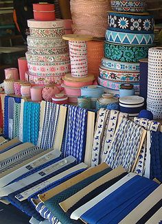 Vintage ribbon and trim ~ fabulous stall at Brimfield.