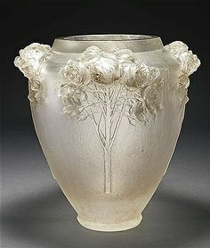 "René Lalique ""Roses"" Vase, cire perdue glass with applied brown patiné, c. Art Nouveau, Lalique Jewelry, Lalique Perfume, Art Of Glass, Cut Glass, Rose Vase, Glass Ceramic, Antique Glass, Glass Design"
