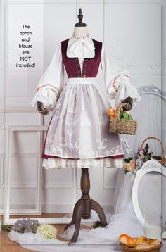 Pre-order Short Sheer Embroidered Apron-Anna Polka Collection by ZJstory Lolita Gothic, Gothic Dress, Lolita Dress, Kawaii Fashion, Lolita Fashion, Old Fashion Dresses, Fashion Outfits, Vintage Embroidery, Embroidery Fonts