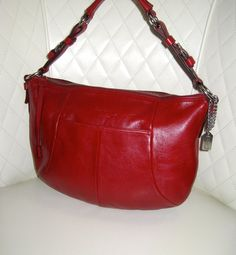 I'm auctioning '3 COACH Soho Red Leather Hipster Ergo Hobo Bag ' on #tophatter