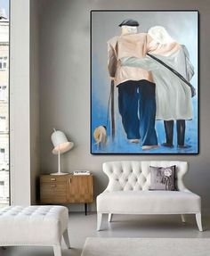 Old couple art care love artwork fine art figurative large painting canvas art one of a kind wall art parents love modern art contemporary artwork expressionist original art grand parents togetherness - In-context view (home interior)