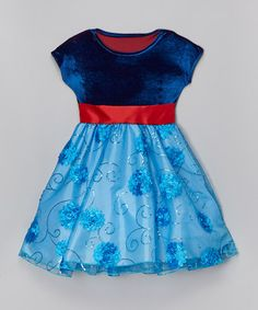 Another great find on #zulily! Blue & Red Floral Sequin Dress - Infant, Toddler & Girls #zulilyfinds