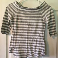 American Eagle Boatneck Tee 3/4 sleeve grey and white stripe. Boatneck shirt. Great with a Bralette or Strappy back tank. Best fits xs and small American Eagle Outfitters Tops Tees - Long Sleeve