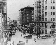 """""""Broadway at Alder, 1925. The spectacular Pantages Theater is on the left."""""""