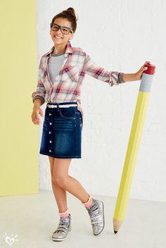 541484f5e722d Button Front Knit Denim Skirt- MOOS