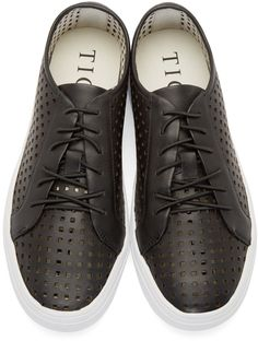 Tiger of Sweden Black Perforated Leather Sneakers