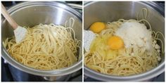 spaghetti with egg and cheese being mixed in. Easy Baked Spaghetti, Spaghetti Noodles, Dinner Casserole Recipes, Delicious Dinner Recipes, Meals For Three, Yummy Eats, Egg Recipes, Cheese