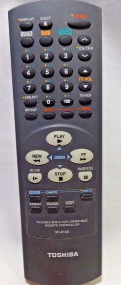 TOSHIBA VC-614S  Remote Control  Programmable TV Cable VCR Tested New Batteries #Toshiba