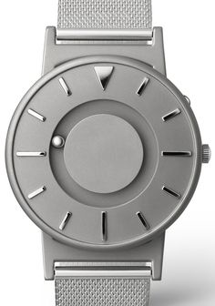 Eone Bradley Silver Watch Silver Mesh Band features a minimalist face with raised markers at each hour. Time is indicated by two ball bearings. Dezeen Watch Store, Timex Watches, Men's Watches, Wrist Watches, Gold Watches, Stainless Steel Mesh, Luxury Watches For Men, Modern Watches, Shopping