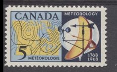 Meteorological instruments and weather map of Canada as shown on this 1968 stamp issue. Light In The Dark, Light Blue, Meteorology, Postage Stamps, Booklet, Blue Yellow, Instruments, Canada, Collections