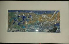 Mounted and framed. Seascape.....mixed media and machine embroidery.