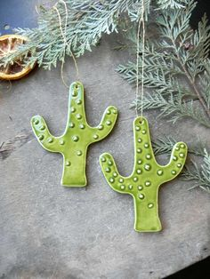 Excited to share the latest addition to my #etsy shop: Cactus Ceramic Christmas Ornaments, 2 Green Cacti Christmas Tree Ornaments, Saguaro Home Decoration, Succulent Pottery